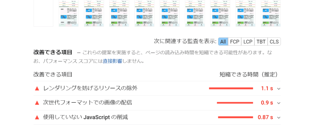 page speed insights の画像